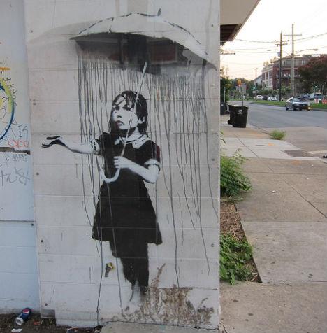banksy-gray-ghost-rain-girl