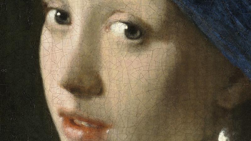 تصویری از تابلوی دختر گوشواره مروارید با قابلیت بزرگنمایی تا هفتصد برابر